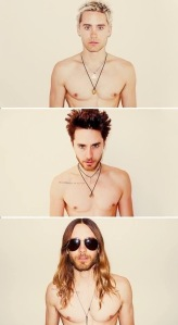 Everyone's favorite in different hair stages, Jared Leto. We have the same birthday, just saying.