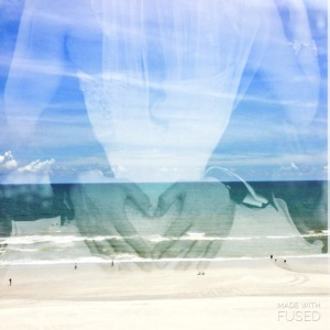 Photo overlay of a bride and groom with an ocean view. Myrtle Beach, SC.